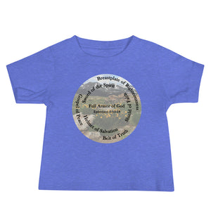 Baby Jersey Short Sleeve Tee, Whole Armor of God, Bible Verse Ephesians 6:10-18, Beautiful Bible Verse and Mountains and Flowers Baby Jersey.