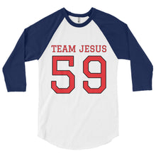 Load image into Gallery viewer, TEAM JESUS Raglan Baseball Shirt., 3/4 sleeve raglan shirt.