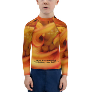 Kids Rash Guard.  Ecclesiastes 3:11 bible verse scripture and flower on Kids Rash Guard.