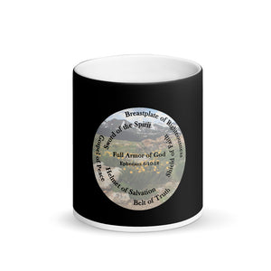 Matte Black Magic Mug, •  Whole Armor of God, Bible Verse Ephesians 6:10-18