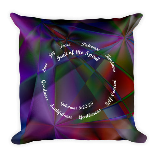 Stained Glass and Cross Pillow. Galatians 5:22-23. Ephesians 6:10-18 Bible Verse Scriptures.