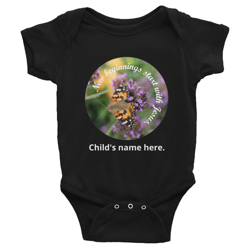 Infant Bodysuit, New beginnings start with Jesus. Customize your child's name, bodysuit.