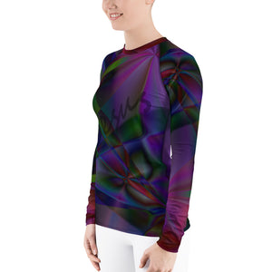 Stain Glass Design with Cross and Jesus, Women's Rash Guard Long Sleeve Faith Shirt