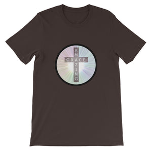 Cross with Amazing Grace Shirt, Colorful Short-Sleeve Unisex T-Shirt