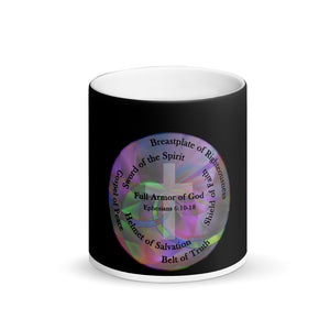 Matte Black Magic Mug, Full Armor of God Coffee Cup, Ephesians 6:11 Cup