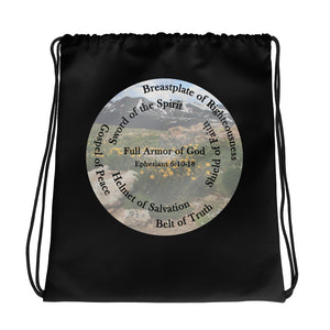 Drawstring bag, Whole Armor of God, Bible Verse Ephesians 6:10-18, Beautiful Bible Verse and Flowers Drawstring Bag