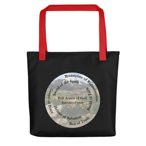 Tote bag, Whole Armor of God, Bible Verse Ephesians 6:10-18, Beautiful Bible Verse and Flowers Tote bag