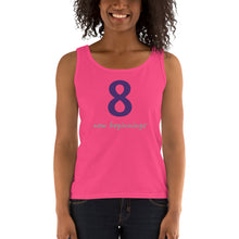 Load image into Gallery viewer, OFOX Pretty Ladies' Tank, Number 8 is The # for New Beginnings,  Tank with Purple, Grey.