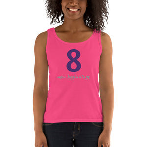 OFOX Pretty Ladies' Tank, Number 8 is The # for New Beginnings,  Tank with Purple, Grey.