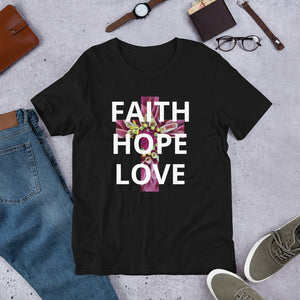 Short-Sleeve Unisex T-Shirt, Cross with Faith Hope Love Floral on Shirt