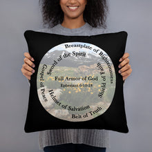 Load image into Gallery viewer, Basic Pillow, •Whole Armor of God, Bible Verse Ephesians 6:11, Beautiful Bible Verse and Mountains, Basic Pillow,