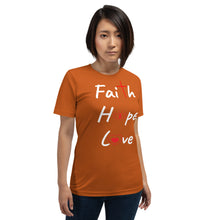 Load image into Gallery viewer, 3, Greatest - Faith Hope Love Shirt.  Short-Sleeve Unisex T-Shirt