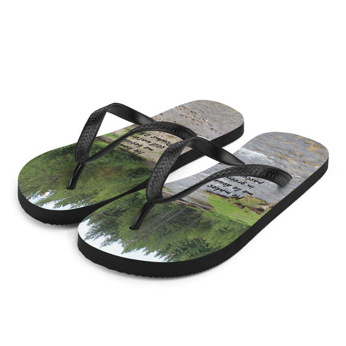 OFOX Flip-Flops with Scripture Bible Verse(Psalms 23:2) ~ Real Life Vibrant Photography ~ Custom Originals!