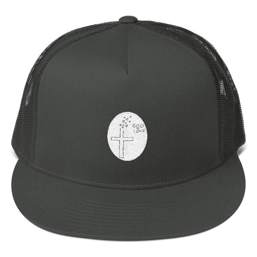 Black Hat with God is Love Stitching, Mesh Back Snapback