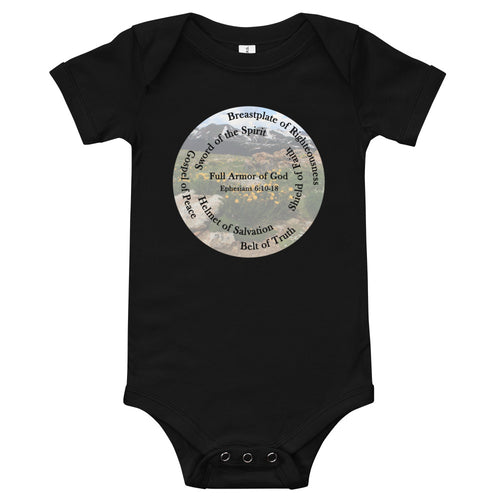 T-Shirt, Whole Armor of God, Bible Verse Ephesians 6:10-18, Beautiful Bible Verse and Flowers Baby Body Suit