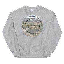 Load image into Gallery viewer, Sweatshirt, The Full Armor of God, Bible Verse Ephesians 6:11, Beautiful Bible Verse and Flowers Sweatshirt