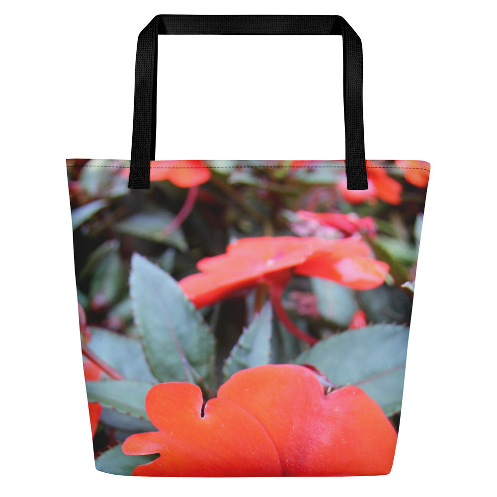Tropical Flowers Print Beach Bag
