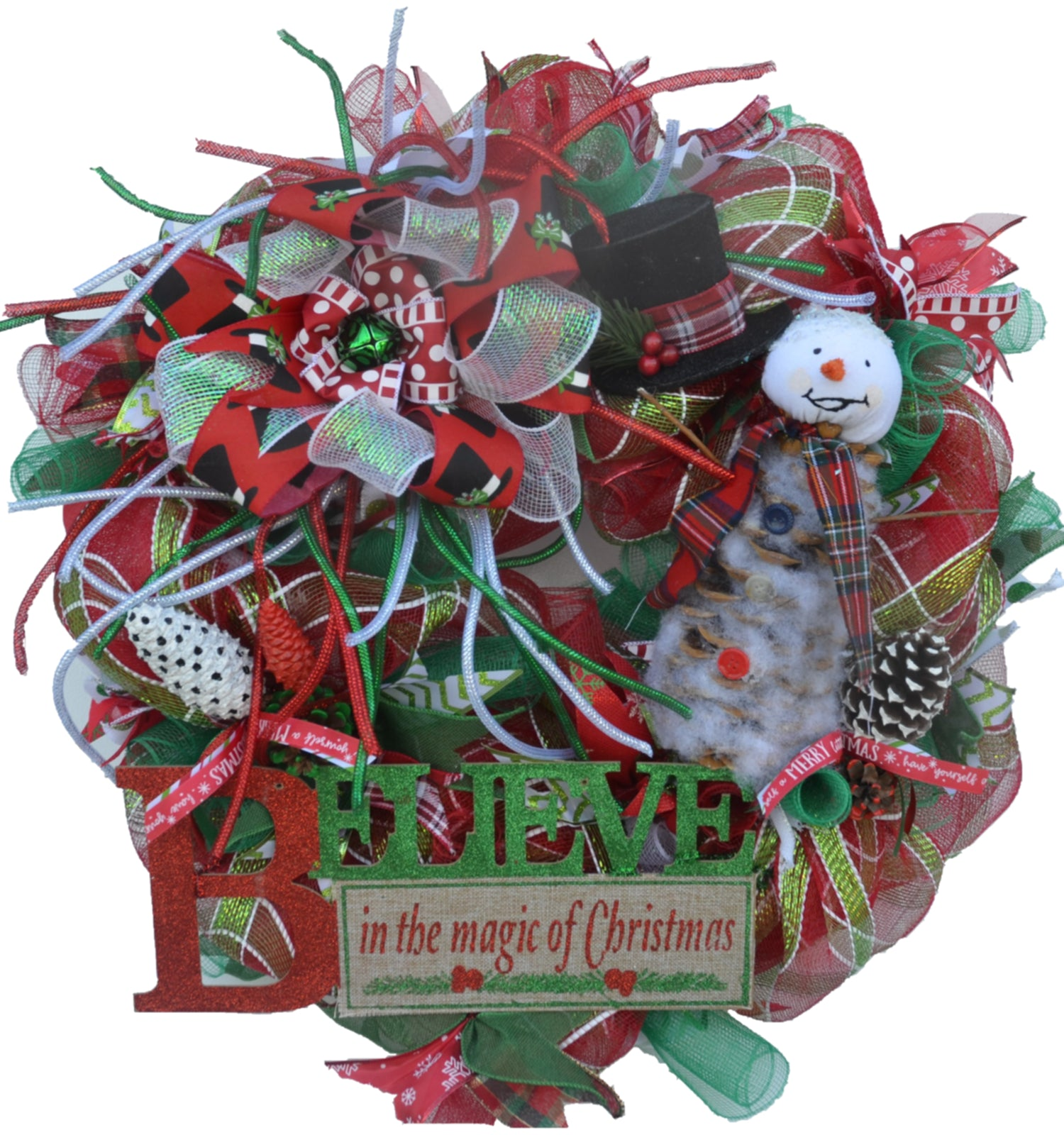 "Believe In the magic of Christmas 2019 LIMITED EDITION Wreath Deco Mesh 29.5"" x 28.5"" x 6""+"