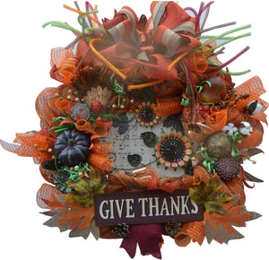 "GIVE THANKS 2019 LIMITED EDITION Fall Wreath 26""+ x 26"" x 8"" ROUND mesh burlap"