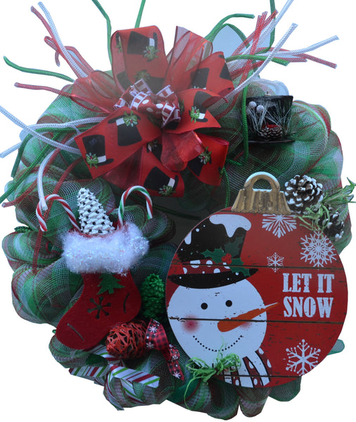 LET IT SNOW 2019 TRADITIONAL CHRISTMAS Wreath Deco Mesh Multiple Embellishments