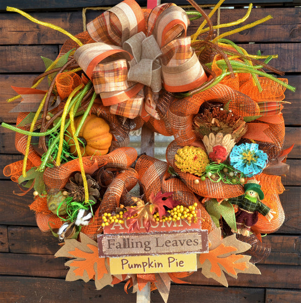 "AUTUMN FALLING LEAVES PUMPKIN PIE 2019 LIMITED EDITION Fall Wreath 26"" Round & 8"" Thick Front door"