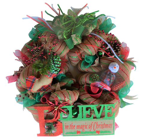 "BELIEVE IN THE MAGIC OF CHRISTMAS - Artisan's Limited Series 2019 - 26"" Round Wreath"
