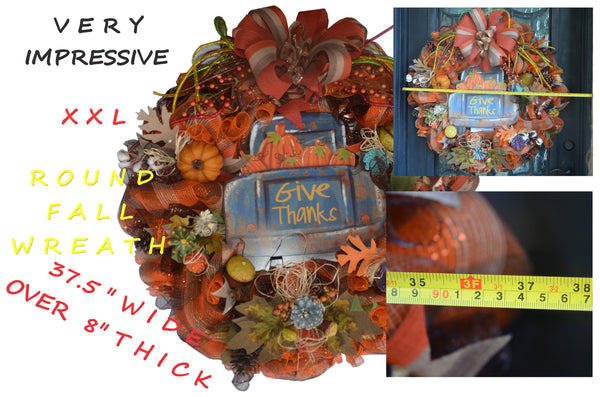 "GIVE THANKS 2019 Custom Handmade Fall / Thanksgiving  by Staci HUGE 36"" WIDE 37.5"" TALL 10+"" THICK"