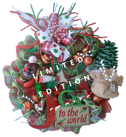 "JOY TO THE WORLD - 2019 LIMITED EDITION Grand XL Wreath 29.5"" TALL x 28.5"" WIDE x OVER 6"" THICK"
