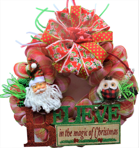 "BELIEVE IN THE MAGIC OF CHRISTMAS - Santa & Owl Big Wooden Sign 2019 22"" Round Wreath"
