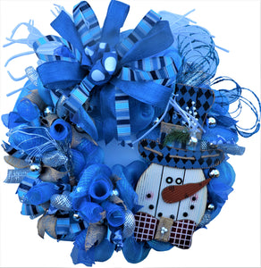 SNOWMAN CHRISTMAS Wreath Blue XXL Limited Edition SPECIAL SERIES 34 Inches Round