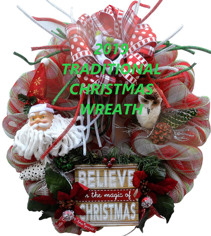 "BELIEVE in the magic of CHRISTMAS 2019 Traditional Series, 22"" Round Santa Owl mesh Wreath"