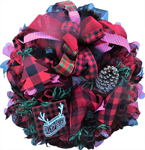 "DEERLY BLESSED Red Round 29 inch Wreath 9"" thick Multiple Embellishments 2019 Limited Edition"