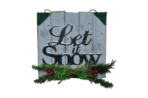 LET IT SNOW - White Wooden Square Sign, Christmas, Mantel, Door hanger