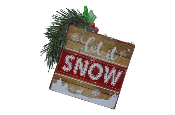 LET IT SNOW - 2019 WOODEN Square Sign, door hanger mantel christmas tree holiday