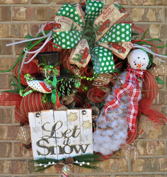 "LET IT SNOW 28 SNOWMAN --- LIMITED EDITION --- 2019 28"" ROUND - CHRISTMAS WREATH"