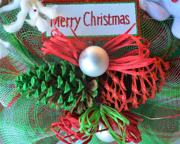 "CHRISTMAS WREATH MEDIUM TRADITIONAL 2019 Series 15"" Round Deco Mesh Multiple Embellishments"