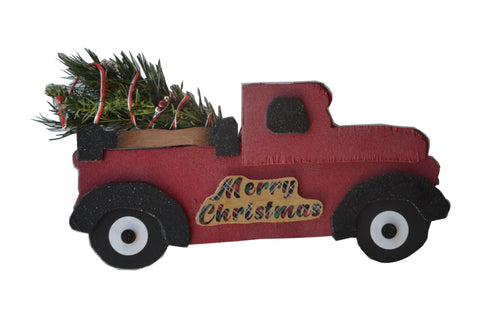 RED TRUCK SIGN CHRISTMAS Small HANDMADE Wood 14 inches x 7 inches variations on sign & tree