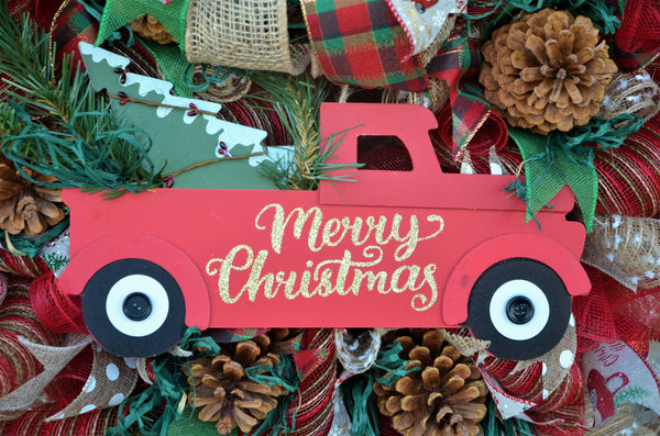 "RED TRUCK MERRY CHRISTMAS 2019 29"" Round Wreath 14"" Truck Multiple Embellishments Limited Edition"