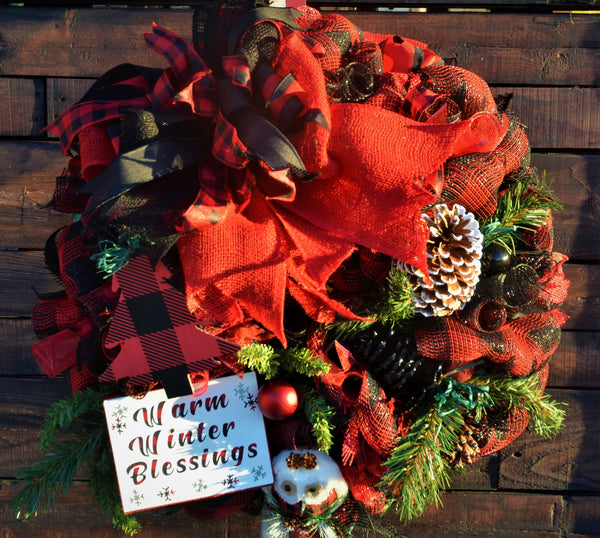 "Warm Winter Blessings Winter - Christmas Wreath - Artisan's Special 24"" Round 6"" sign"