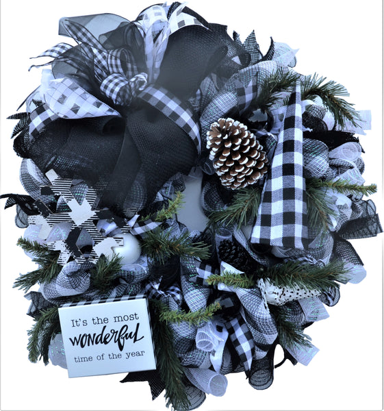 Most Wonderful Time of the Year 28 inch Wreath Black Round Limited Edition