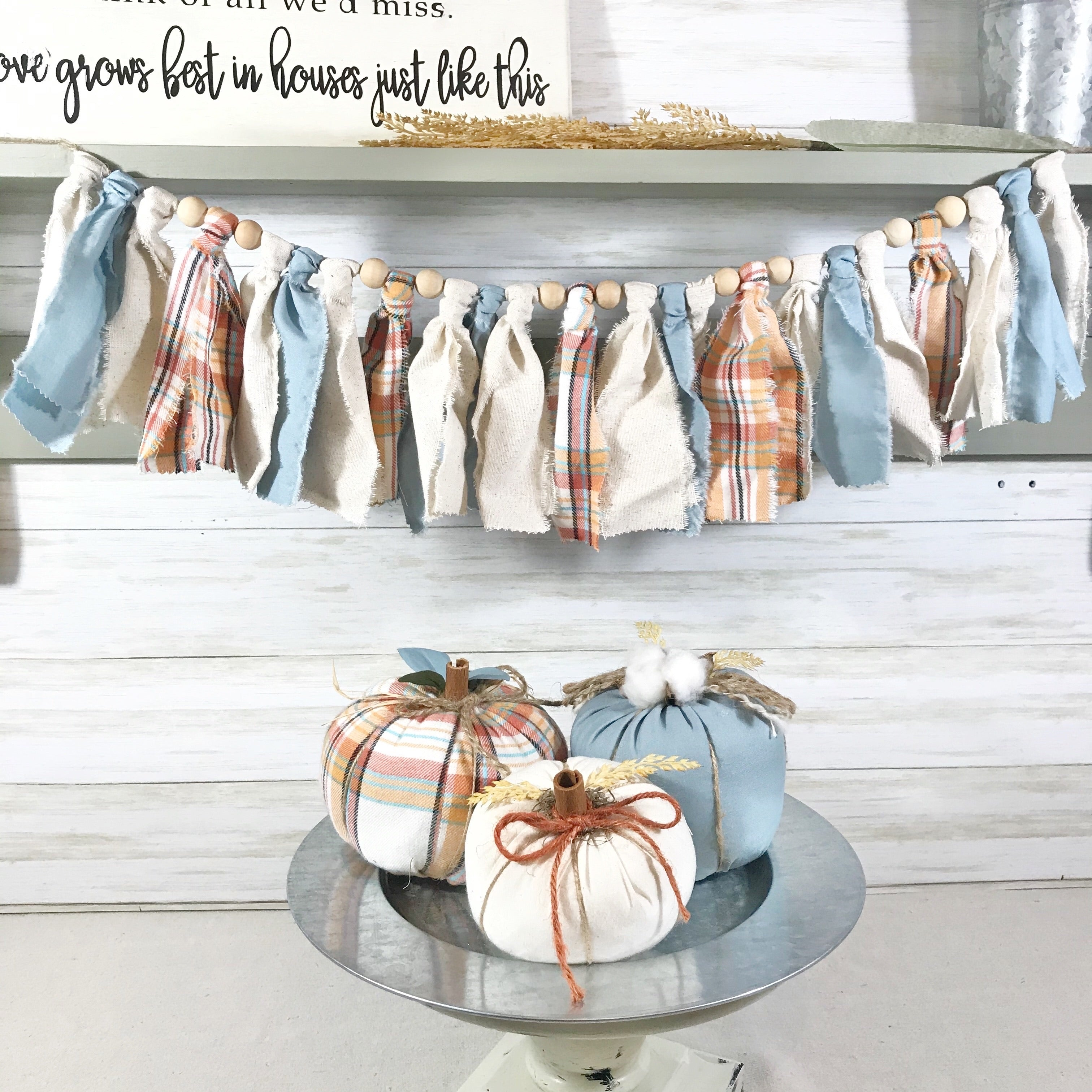 Fall Fabric Pumpkin Set With Matching Fabric Bead Garland The Crooked Pine Boutique