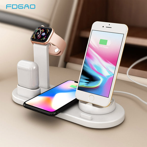 Qi Charger Pad 4 in 1 Charging Station Dock For Apple Watch Airpods iPhone XS XR X 8 Samsung S10 S9