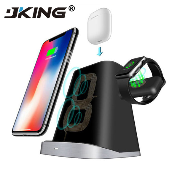3 IN 1 Magnetic QI Wireless Charger Dock Station  For Samsung For Apple Watch IPhone AirPods