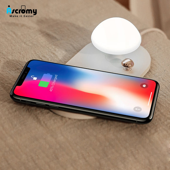 Mushroom Qi Fast Wireless Charger For iPhone Xiaomi Samsung + Night Light Fast Charger Dock Station