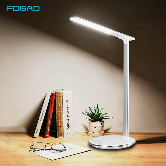 Foldable LED Desk Lamp + QI Charging Pad Dock Station For iPhone Samsung