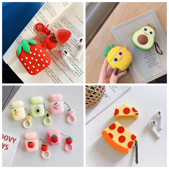 For AirPods Case 3D Cute Fruit Strawberry Pineapple Avocado Pizza Earphone Cases For Apple Airpods 2 Protect Cover with Pendant