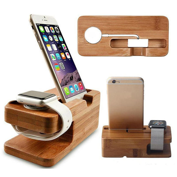 Multi-functional 2-in-1 Charging Dock Stand Station Watch Phone Charger Wooden Holder Space Saver For iWatch For iPhone New