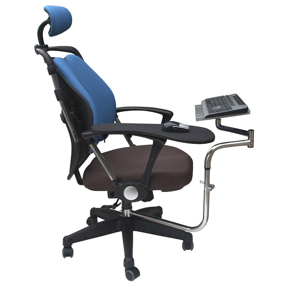 OK010 Full Motion Chair Shaft Clamp Keyboard Support + Chair Arm Clamp Elbow Wrist Support Mouse Pad Arm Rest  for Office & Game