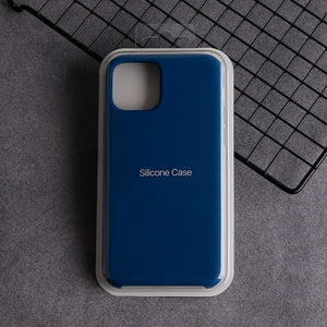 Official Logo Deep blue Phone Case For iPhone 11 Pro For iphone 7 8 Plus 6 6S Silicone Liquid Original Cover For iPhone XS Max XR X Cases