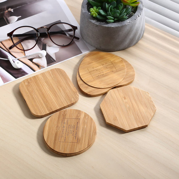Square Wood Bamboo Qi Wireless Charger Charging Pad For iPhone, Samsung, Nexus
